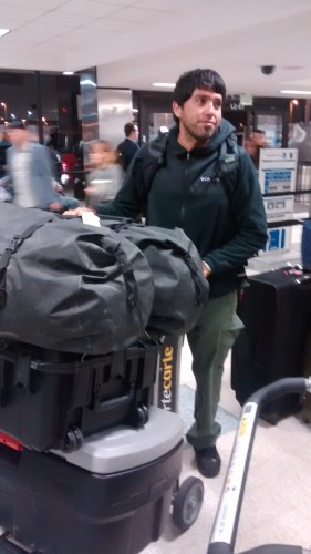 Jose with only a portion of the luggage and equipment