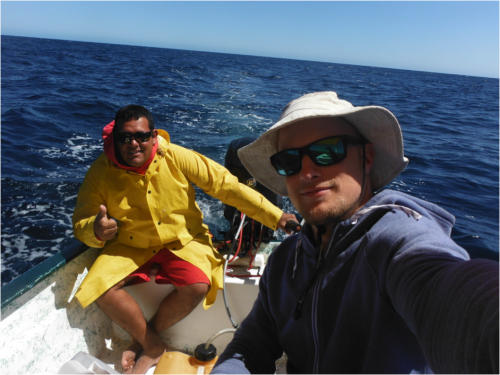 Panga skipper Brian Castro and I out on survey