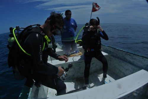Dr. Brad Erisman (left) and Erin Reed (right) prepare for their first dive in search of spawning groupers. Photo: David Castro