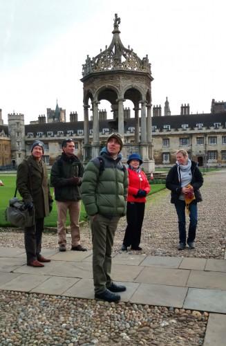 Andrew F Johnson and other TNC collaborators look at Cambridge University's impressive range of historic college buildings. Photo: Marcia Moreno