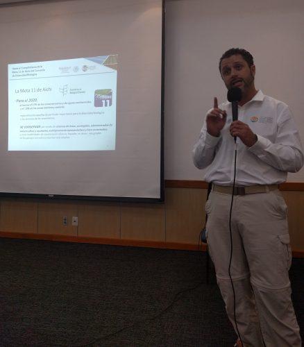 CONANP's Alejandro Del Mazo Maza emphasizing Mexico's commitment to preserve 10% of Mexico's seas.