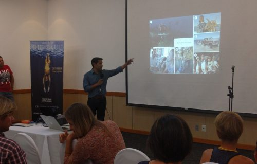 Dr. Octavio Aburto introducing the different projects of the Gulf of California Marine Program.