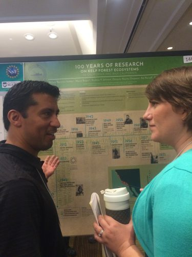 SIO PhD student and GCMP member Arturo Ramirez-Valdez sharing his findings with fellow SIO post-doc Jenny Hofmeister. Photo: Rachel Labbe-Bellas
