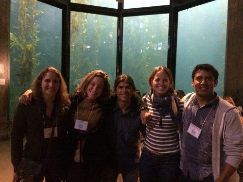 Members of the GCMP-SIO enjoying an evening at Monterey Bay Aquarium. From left to right: Maria Bagur, Leticia Cavole, Gabriel Castro (SIO), Rachel Labbe-Bellas, and Arturo Ramirez-Valdez.